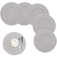 Briday - Cotton Braided Round Placemats for Kitchen Dining Table Woven Round Table Place Mats Washable,Set of 4