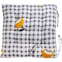 Cotton Chair Pad Thicker Cushion Office Seat Mat 40x40cm Black Grid