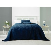 COUNTRY CLUB Alexa Velvet Quilted Bedspread Soft Throw Over Double/King Size Blue 240x260cm