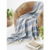 Diamond Throw Over Blanket Bed/Sofa Accessory Navy 170x200cm, Blue - Country Club
