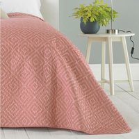 Eve Quilted Embossed Bedspread Throwover Decorative Bedding Geometric Design, Blush, 240 x 260cm - Country Club