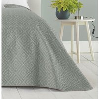 Eve Quilted Embossed Bedspread Throwover Decorative Bedding Geometric Design, Grey, 240 x 260cm - Country Club