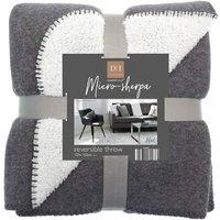 Plain Grey Marl Microsherpa Fleece Reversible Bed/Sofa Throw 120cmx150cm (Dark Grey) - Country Club