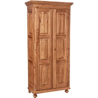 Country -style solid lime wood , natural finish W100xDP50xH210 cm sized wardrobe. Made in Italy - BISCOTTINI