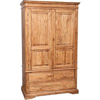 Country-style solid lime wood natural finish W120XDP59X197 cm sized wardorbe. Made in Italy - BISCOTTINI