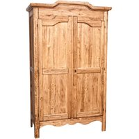 Country-style solid lime wood , natural finish W127xDP59xH204 cm sized wardrobe. Made in Italy - BISCOTTINI