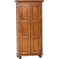 Country -style solid lime wood, walnut finishW 100xDP50xH210 cm sized wardrobe. Made in Italy - BISCOTTINI