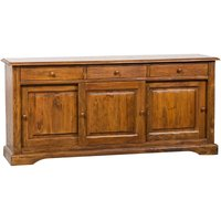Country-styole solid lime wood walnut finish, W197xDP50xH91 cm sized sideboard. Made in Italy - BISCOTTINI