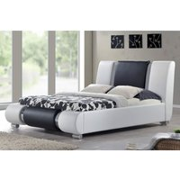 Cherry Tree Furniture Coxa Designed PU Leather Bed Frame, Black and White with Chrome (4FT6 Double)