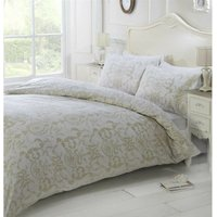 Cream Damask Style Double Duvet Cover Set with Matching Pillowcase, Bed Linen Set - RAPPORT