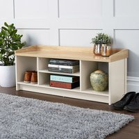 Cream Oak Hallway Storage Bench With Open Shoe Storage Shelves and Padded Seat