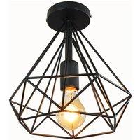 Creative Chandelier Vintage Diamond Ø25cm Retro Ceiling Lamp Metal Cage Industrial Ceiling Light Black