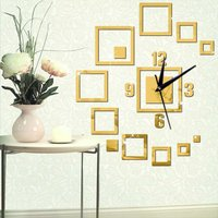 Creative Mirror Wall Clock Square Mirror Clock 3D Acrylic Living Room Wall Clock Suitable for Smooth Living Room / Kids Room / Dining Room Walls