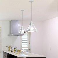 Creative Pendant Light Metal Lampshade White Creative Triangle Pendant Lamp Retro Chandelier Vintage Industrial Hanging Light E27