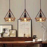 Creative Pendant Light Retro Chandelier Diamond 25CM Ceiling Light Industrial Hemp Rope 3 Heads Hanging Lamp Black for Office Corridor Restaurant