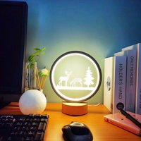 Thsinde - Creative table lamp round lamp wooden base bonsai elk living room decoration night light
