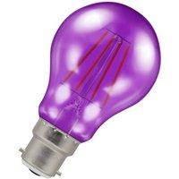 (1 Pack) Lamps LED GLS 4.5W BC-B22d Harlequin IP65 (25W Equivalent) Purple Translucent BC Bayonet B22 A60 Outdoor Festoon Coloured Filament Light