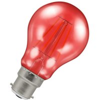 (1 Pack) Lamps LED GLS 4.5W BC-B22d Harlequin IP65 (25W Equivalent) Red Translucent BC Bayonet B22 A60 Outdoor Festoon Coloured Filament Light Bulb