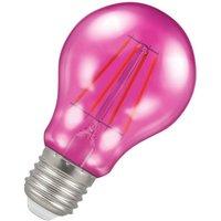 Crompton Lamps LED GLS 4.5W ES-E27 Harlequin IP65 (25W Equivalent) Pink Translucent ES Screw E27 A60 Outdoor Festoon Coloured Filament Light Bulb