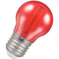 Crompton Lamps LED Golfball 4.5W ES-E27 Harlequin IP65 (25W Equivalent) Red Translucent ES Screw E27 Round Outdoor Festoon Coloured Filament Light