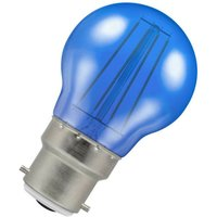 (1 Pack) Lamps LED Golfball 4W BC-B22d Harlequin IP65 (25W Equivalent) Blue Translucent BC Bayonet B22 Round Coloured Festoon Outdoor Filament Light