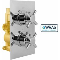 Cross 2 Dial 1 Way Chrome Concealed Thermostatic Shower Mixer Valve Solid Brass WRAS