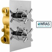 Gravity Bathrooms - Cross 2 Dial 2 Way Chrome Concealed Thermostatic Shower Mixer Valve Solid Brass WRAS