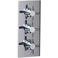 Wholesale Domestic - Cross Polished Chrome Concealed Triple Thermostatic Shower Valve