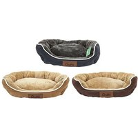 Crufts Medium Faux Fur Suede Round Bolster Pet Bed