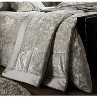 Crushed Velvet Bedspread Quilted Throw, Natural , 220 x 220 cm