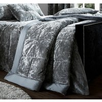 Crushed Velvet Bedspread Quilted Throw, Silver, 220 x 220 cm