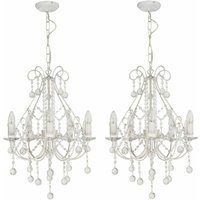 Pair of Crystal Chandeliers in White with Silver Brush Strokes - FIRST CHOICE LIGHTING