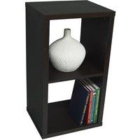 CUBE - 2 Cubby Square Display Shelves / Vinyl LP Record Storage - Dark Oak