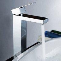 Neshome - Cube Square Single Lever Bathroom Tall Basin Mono Mixer Chrome Tap with Waste