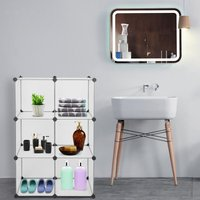 Talkeach - Cube Storage 6-Cube Closet Organizer Storage Shelves Cubes Organizer DIY Closet Cabinet White