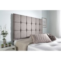 Cubed Grey Linen Sprung Memory Foam Divan bed No Drawer No Headboard Small Single - BED CENTRE