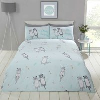 Rapport - Cuddly Cute Otter Animal Duvet Quilt Cover Bedding Set with Pillow cases (Duck Egg Blue, Single)