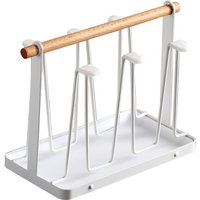Cup Drying Rack Stand with Drain Tray Cup Drying Rack with Wooden Handle Portable Non-slip Upside Down Drain Cup Holder,model:White