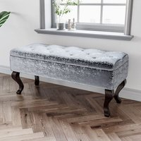 Curshed Velvet Ottoman Pouffe Stool Footstool Storage Box Unit Bench Grey