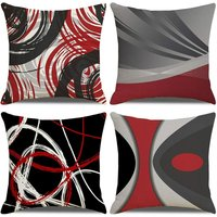 Cushion Cover 45x45, Set of 4 Cotton and Linen Decorative Sofa Home Decor Pillow Case Super Soft Decoration Home Living Room Bedroom for Sofa