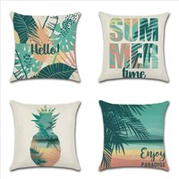 Cushion Cover Animals Flowers Marine Life Tropical Plant Pillow Case for Sofa Home Living Room Bedroom Home Decoration, 45x45cm, 4 Piece Set