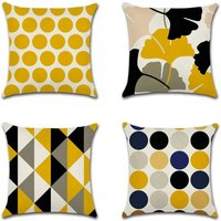 Cushion Cover Plant Leaves Geometric Pattern Pillow Case for Sofa Home Living Room Bedroom Home Decoration, 45x45cm, 4 Piece Set (Geometry and Leaf)