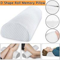 Lbtn - D Shaped Comfort Memory Foam Roll Pillow Neck Knee Leg Spacer Back Lumbar Support (White, D Shaped 40x20x10cm)