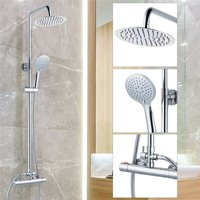 Round Chrome Thermostatic Dual Control Twin Head Shower Mixer Ultra Thin + Kit - BuyaParcel