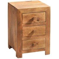 Verty Furniture - Dakota Light Mango 3 Drawer Bedside Cabinet - Light Wood