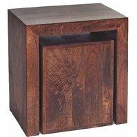 Dakota Mango Cubed Nest of 2 Tables - Dark Wood