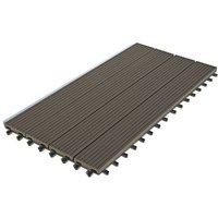 Dalle Terrasse Bois Composite clipsable - Brun Foncé - Lot de 6 dalles 30x60cm soit 1,08m²)