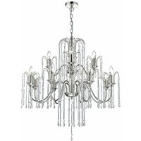 Daniella pendant in polished nickel and crystal 12 lights