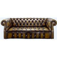 Darcy Gold antique leather Chesterfield sofa   DesignerSofas4U