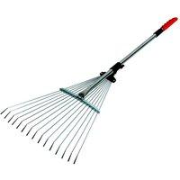 Expanding Telescopic Metal Garden Leaf Rake Cuttings Lawn Adjustable - Darlac